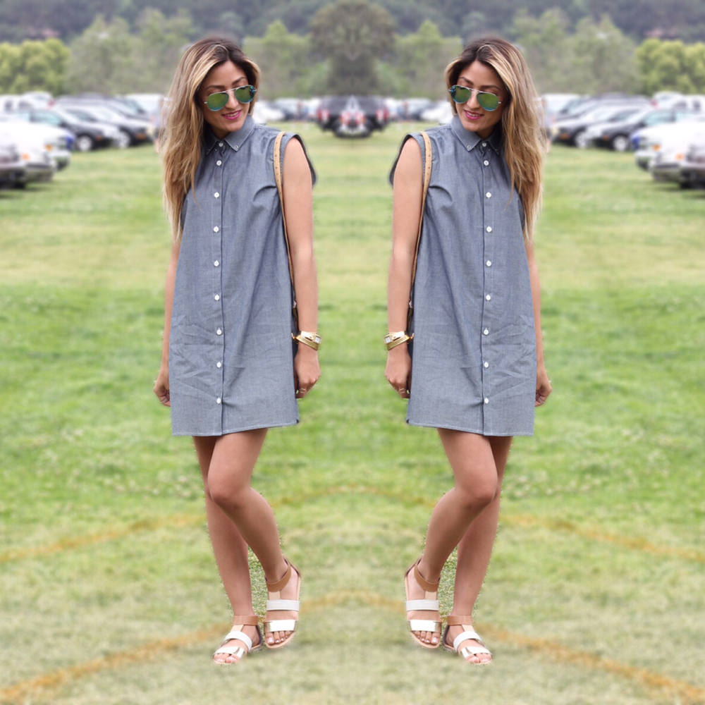 In My Air, Sleeveless Chambray, Dress, Sandals, Spring, Summer, Outfit