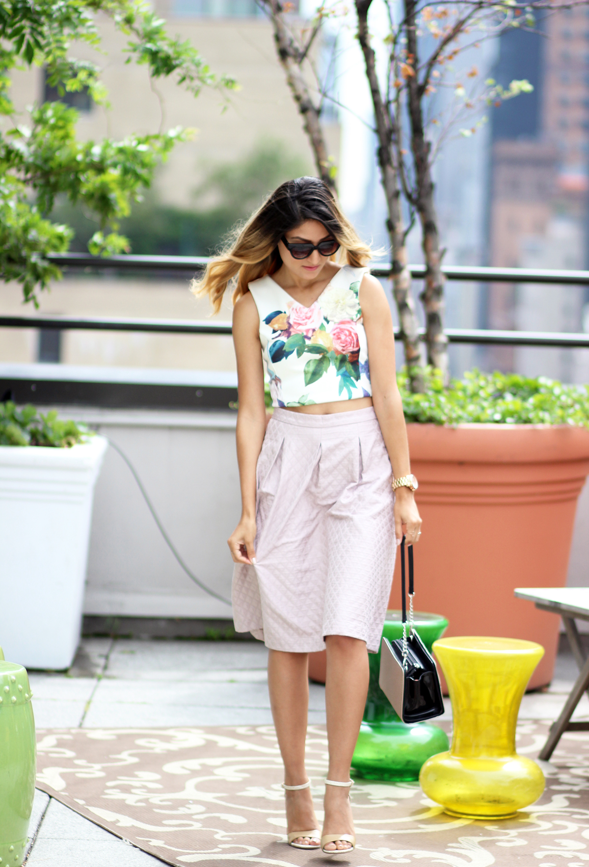 topshop, nordstrom, midi skirt, crop, melrodstyle, streetstyle, nyc, nyfw, new york, fashion week, miche bag, dsw, zero uv, the hudson hotel