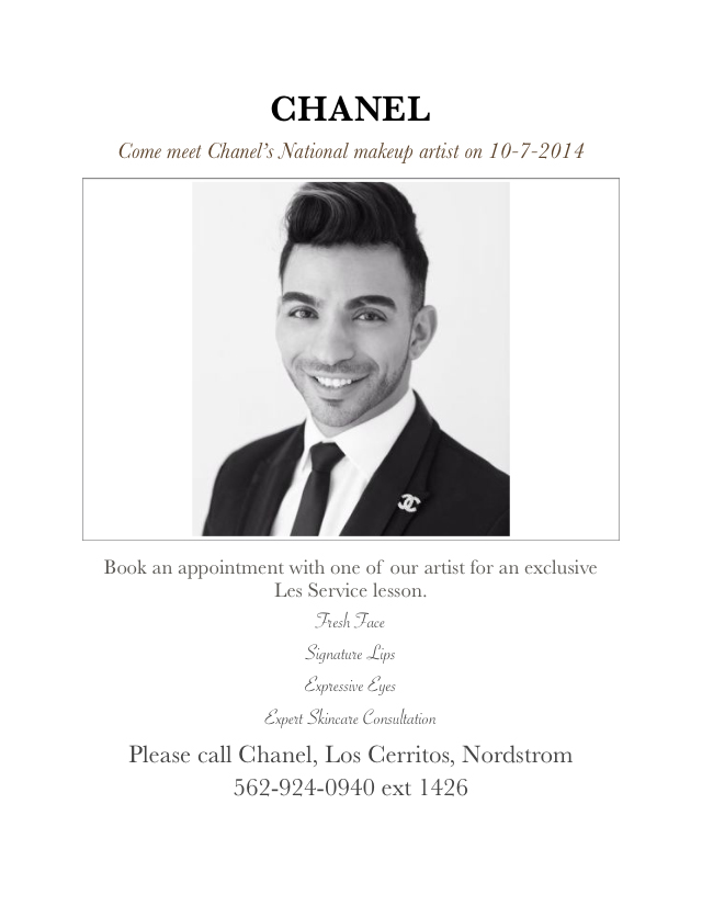 Chanel, makeup, cosmetics, nordstrom, event, los cerritos mall