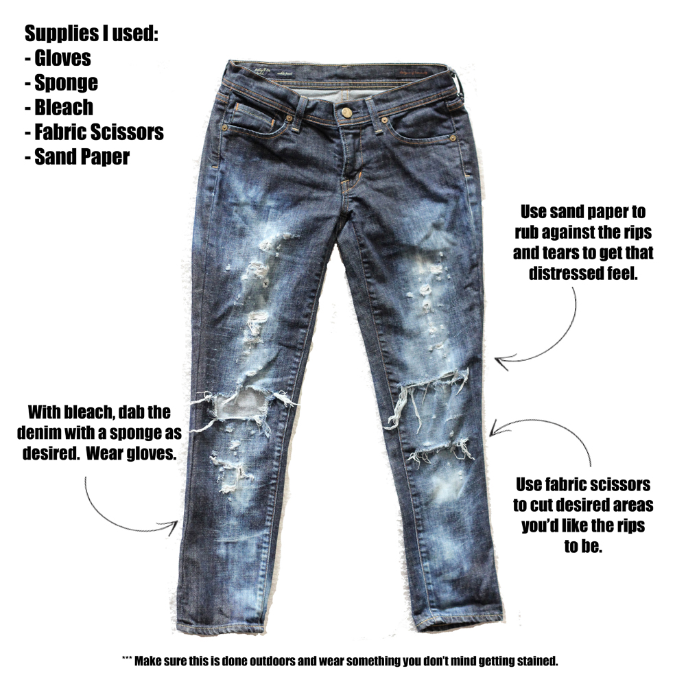 Mel Made, DIY, Destroyed Denim, Denim, Jeans, Melrodstyle, Streetstyle, how to, inspiration