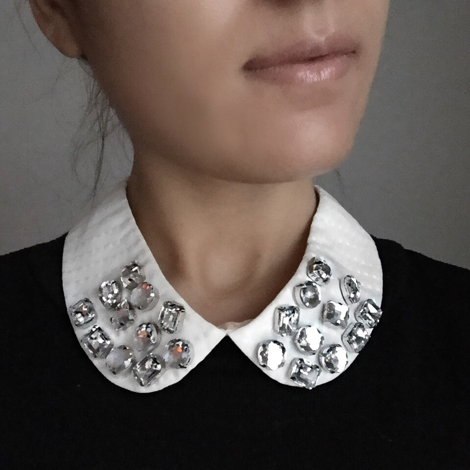 Mel Made, DIY, embellished collar, sparkly collar, how to, melrodstyle, inspiration, new years eve, nye, style inspiration