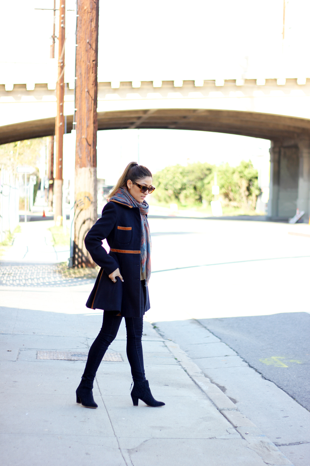 sweater weather, la, melrodstyle, street style, outfit, arts district, stylelist, who what wear, pose