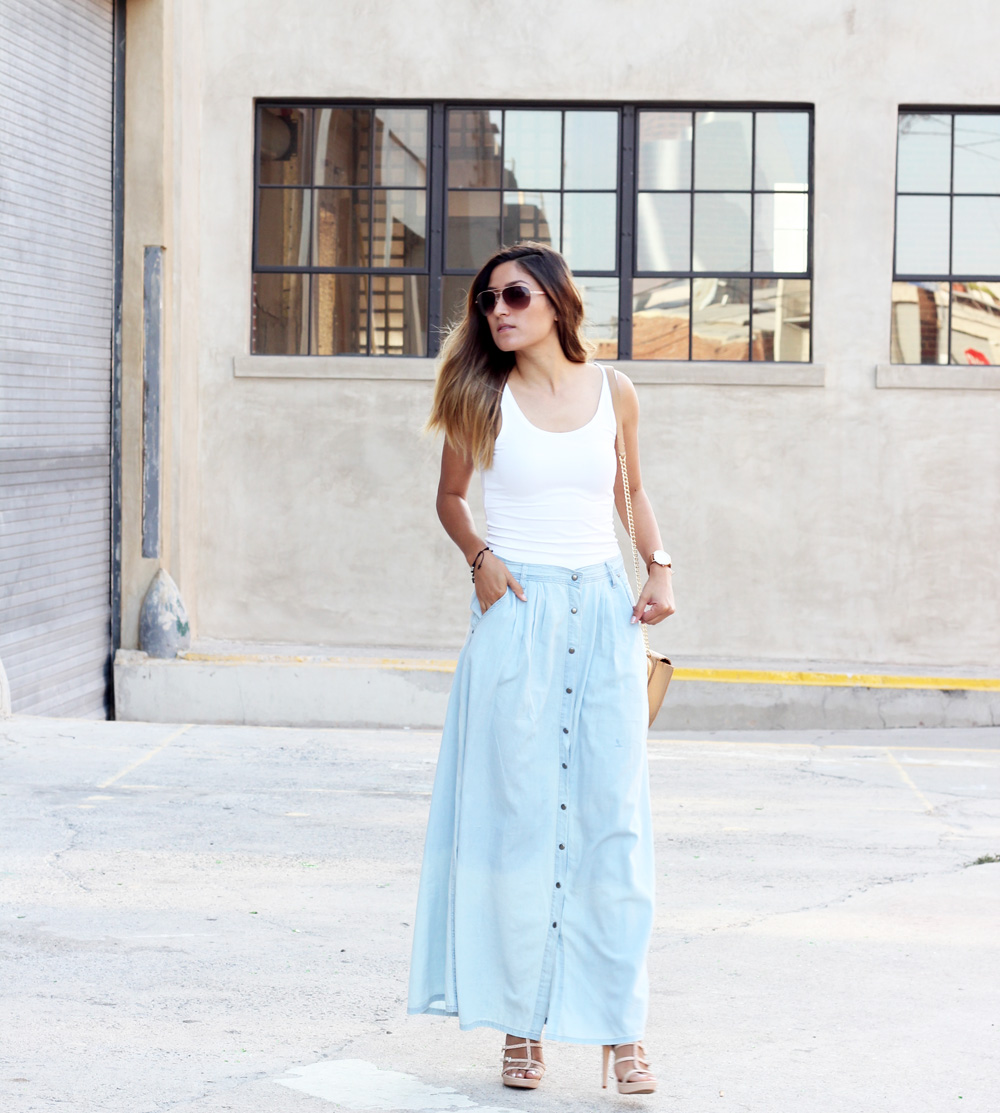 lovely long denim maxi skirt