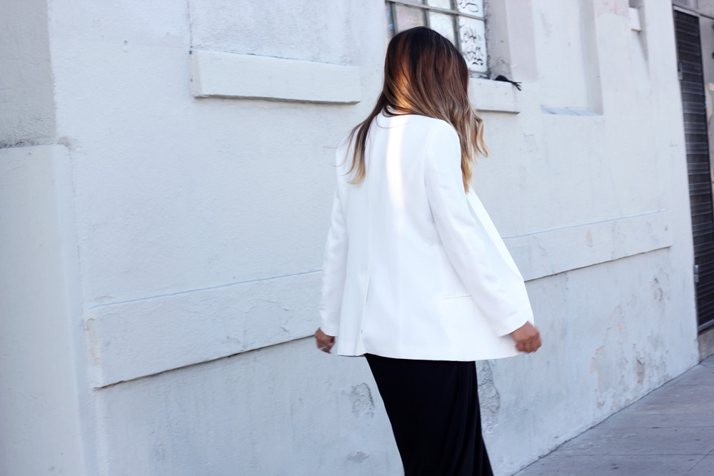 nordstrom, white boyfriend blazer, boyfriend blazer, melrodstyle, street style, long black dress, maxi dress, ootd, onto, outfit, blogger, stylelist, la blogger, latina blogger, mexican blogger, classic, little mistress uk, girls on film clothing
