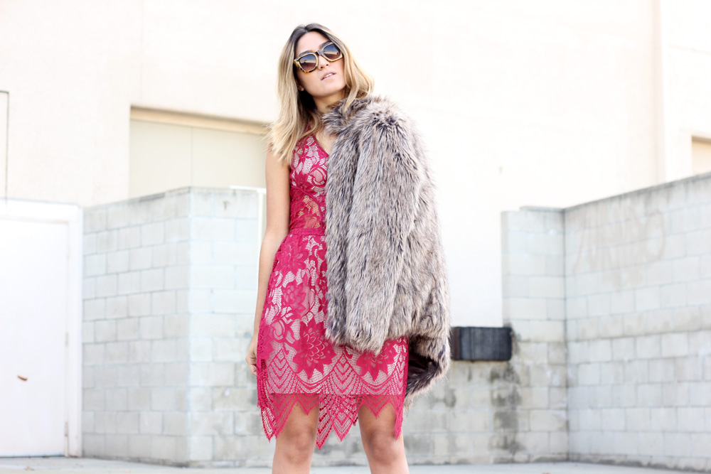 melrodstyle, lace, furry coat, la blogger, latina blogger, mexican blogger, streetstyle, aldo shoes, boots, dress, faux fur coat, windsor, tart