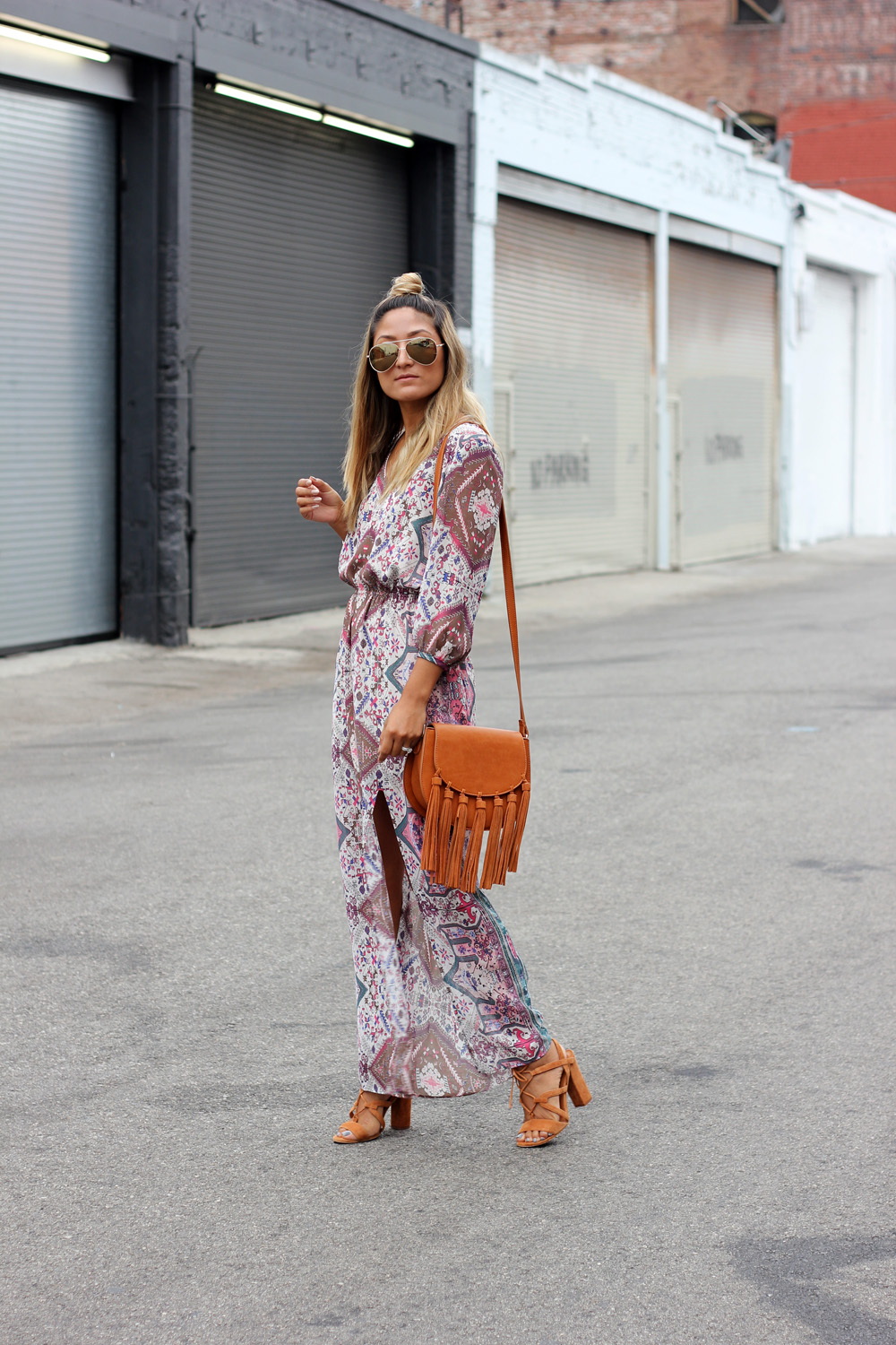 top knot, fringe, boho maxi dress, ootd, melrodstyle, la blogger, personal blog, latina blogger, hispanic blogger, mexican blogger, street style, la, inspiration