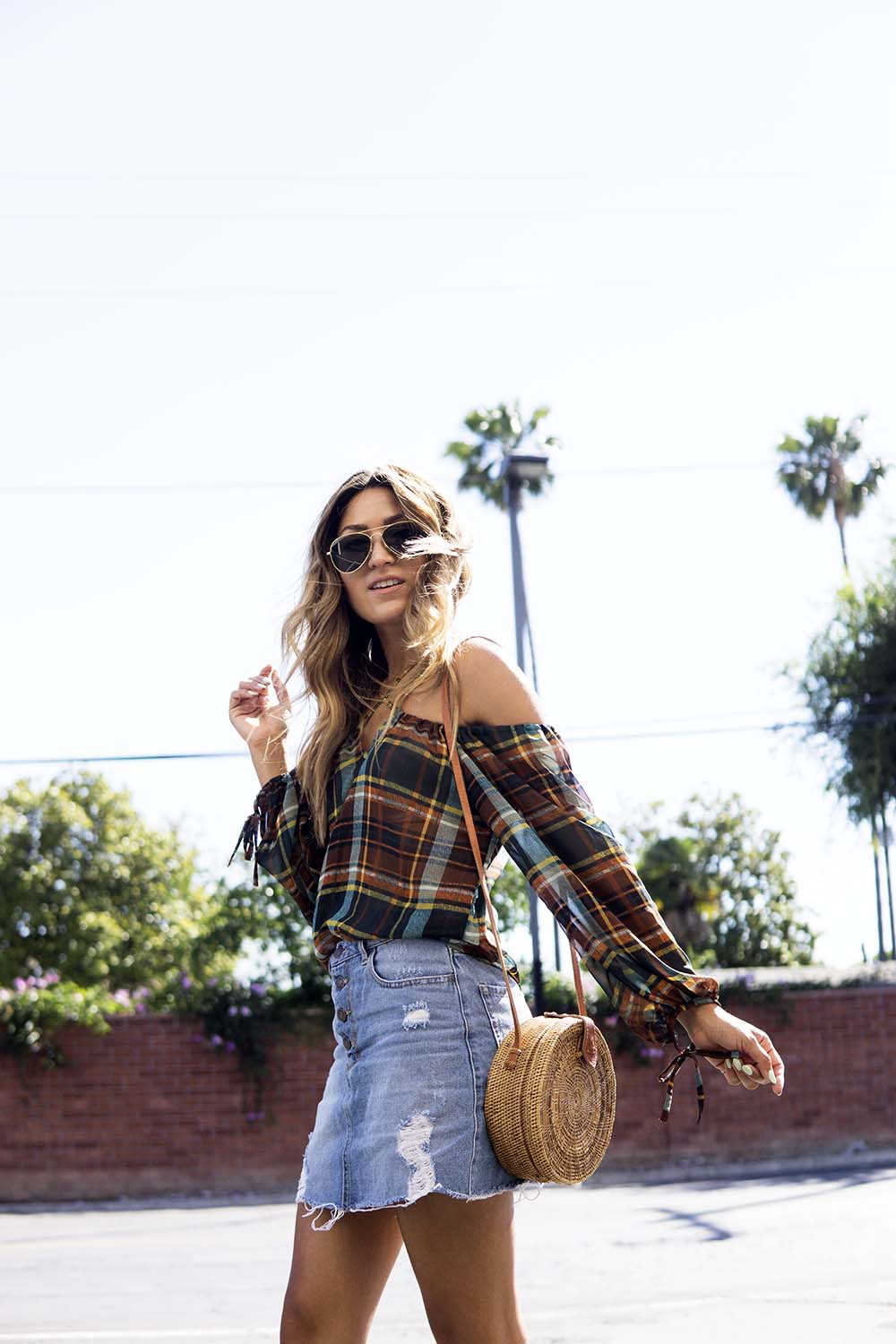 Plaid for Summer, ootd, plaid, denim skirt, forever 21, forever 21 denim skirt, melrodstyle, street style, outfit, summer, etsy, basket bag, wicker bag, etsy basket bag