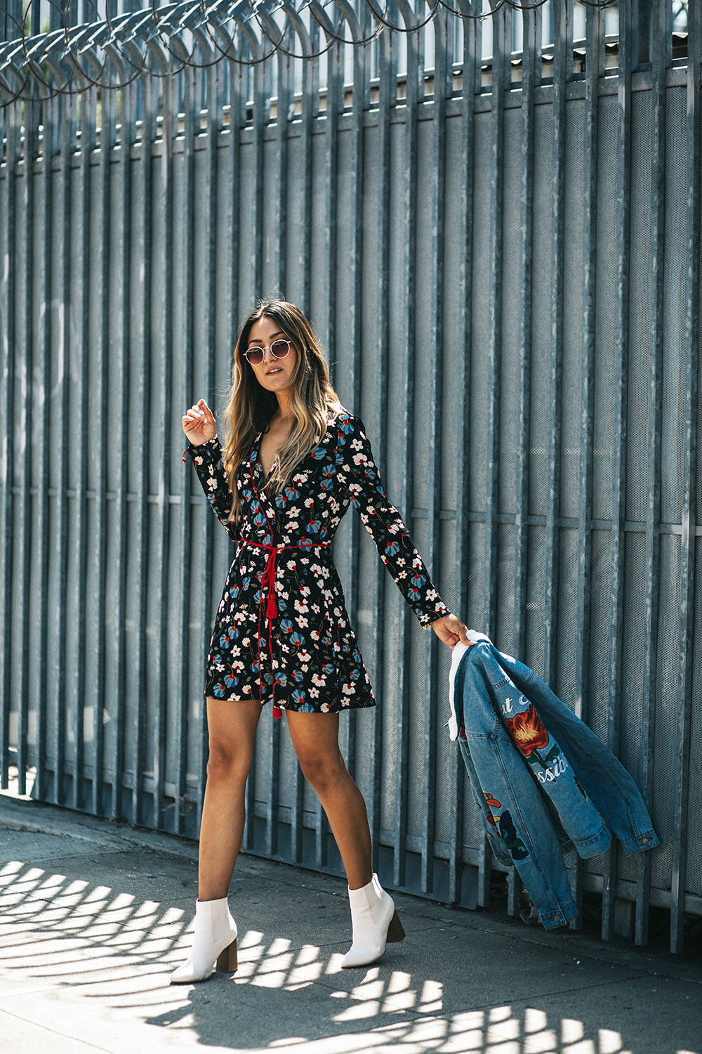 Fall Dressing, uk glamorous, glamorous, dress, jacket, denim jacket, fall, ootd, melrodstyle, la blogger, latina blogger, mexican blogger, street style, melrodstlye