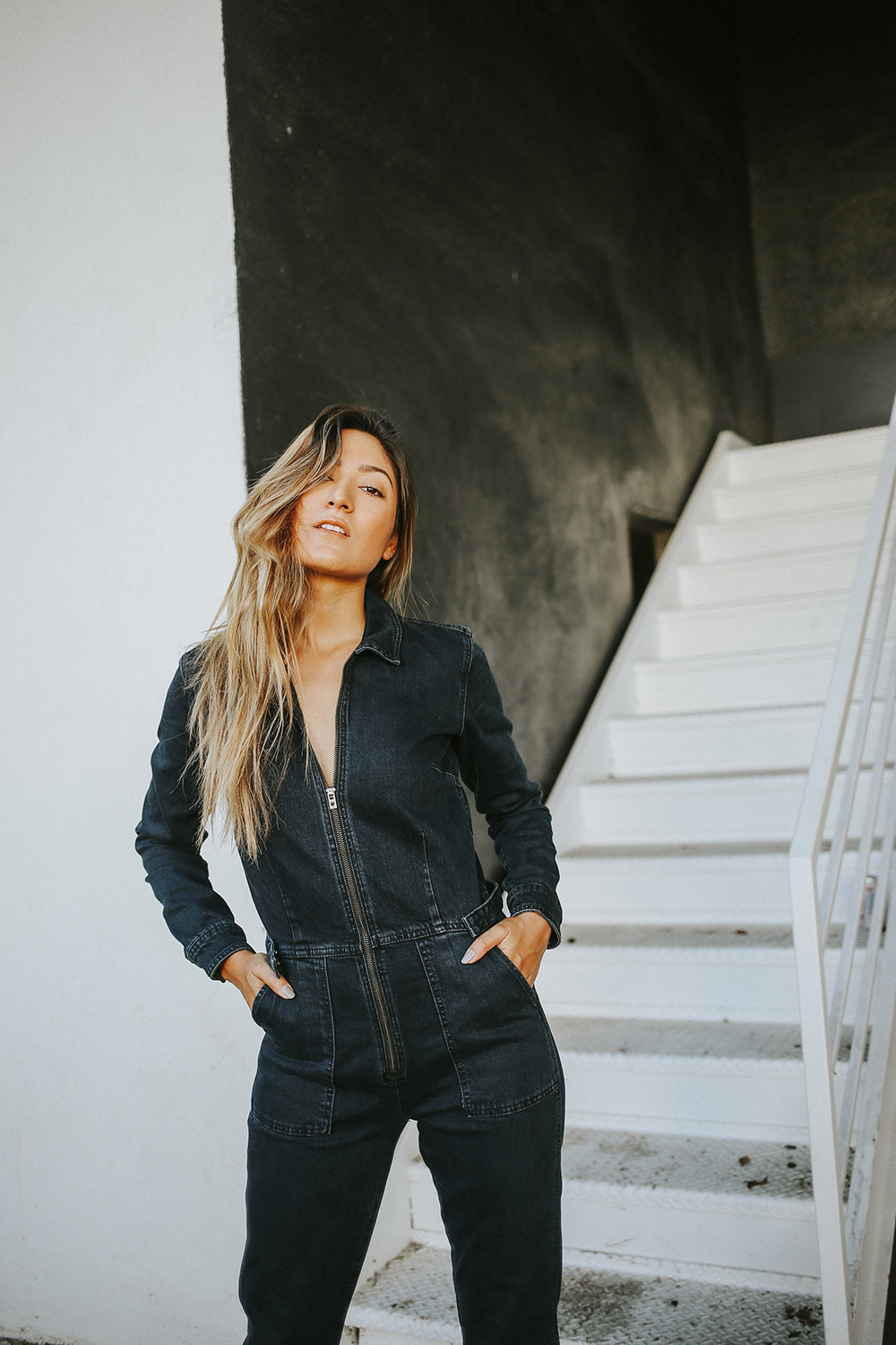 lucky brand denim jumpsuit, denim jumpsuit, lucky brand, jeans, denim, mechanic, street style, culver city, la blogger, melrodstyle, latina blogger, whittier blogger, hispanic blogger, mexican blogger, ootd, style, fashion, fall style