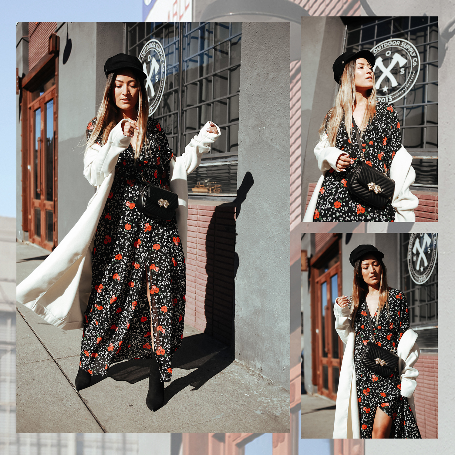 Winter Floral, winter dressing, winter, ootd, outfit, melrodstyle, la blogger, street style, latina blogger, hispanic blogger, dress, floral dress, coat, boots, fall, style, trending, outfit of the day